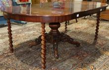 Transitional Regency extension mahogany dining table, 19th century, having a circular top with two 19