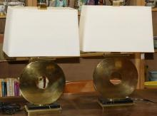 (lot of 2) Robert Abbey brass table lamps, each in the form of a