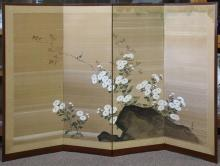 Japanese Four Panel Screen, Flowers