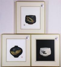 Japanese Modern Woodblock Prints, Maki Haku, Tea Bowl Series: