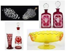 (lot of 7) Italian Murano footed compote, having an oval form with grape cluster reserves, 6