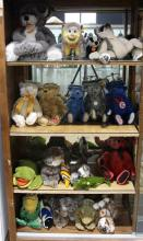 (lot of 22) Germain Steiff mohair and plush stuffed animal group, consisting of cats, kittens, teddy bears, a fish, alligator, frogs...