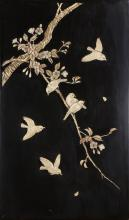 Japanese lacquered Panel with Bone Overlay, Meiji period,