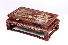 Asian Mother-of-Pearl Red Tray Table