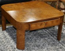 Modernist low table, in the manner of Milo Baughman, having a single drawer, 15