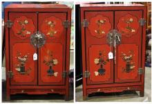 Two Chinese Red Cabinets
