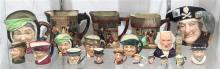 (lot of 19) Royal Doulton porcelain figural Toby Jug group, including miniature examples, (3) Charles Dickens themed pitchers,