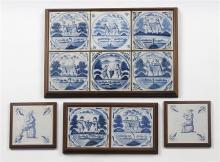 (lot of 4) Framed Delft blue and white tiles, each decorated with wine harvesters carrying grapes, consisting of one with six framed...