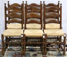 (lot of 6) Provincial ladder back chairs