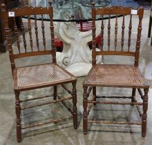 (lot of 2) Pair of Edwardian canned side chairs, the spooled splat back above the woven seat, 36.5