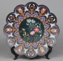 Japanese Cloisonne Charger, Flowers