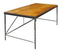 Bryan Tedrick (American 1955-) custom designed desk, having a rectangular pine top, above a patinated metal frame, the tubular legs ...