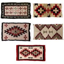 (lot of 5) Navajo rug group, in a variety of sizes and patterns, largest 2'2