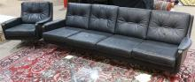(lot of 2) Modern sofa and club chair