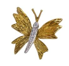 Tiffany & Co. diamond, 18k yellow gold and platinum butterfly brooch
