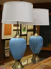 (lot of 2) Mid-Century Modern brass and ceramic table lamps