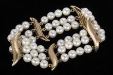 Cultured pearl and 14k yellow gold bracelet