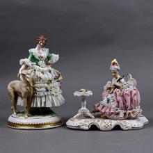 (lot of 2) Dresden crinoline porcelain figural groups