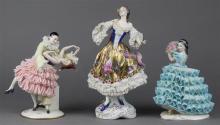 (lot of 3) Continental porcelain crinoline figural groups