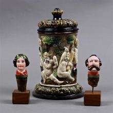 (lot of 3) Figural wine stopper group, consisting of a female wearing garland, and a male with mustache, each mounted on a wood plin...
