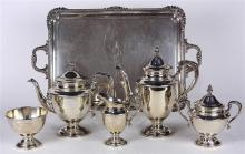 (lot of 6) Mueck-Cary sterling silver hot beverage service, consisting of a coffee pot, 11