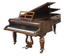 John Broadwood and Sons rosewood grand piano, London circa 1870, serial number 20641 having 85 keys and having a highly figured rose...