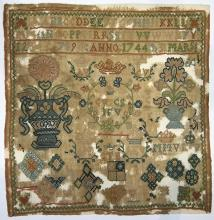 (Lot of 3) British silk on wool samplers, including an example dated 1792, the uppermost corners with two swans, with passage readin...