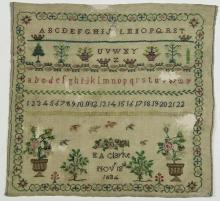 (Lot of 3) British silk on wool canvas sampler, dated 1634 or 1834, signed E A Clark, a floral border frames alphabet and numbers, a...