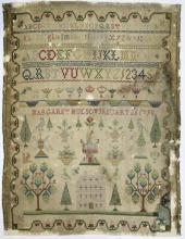 (Lot of 3) British silk on wool samplers, including an example dated 1798, reading,