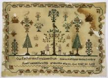 (Lot of 3) British silk on wool canvas samplers, late 18th Century, consisting of an unsigned, depicting a bucolic estate, with domi...