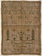 (lot of 3) British silk on wool canvas sampler group including two unsigned examples having mutiple sets of the alphabet; together w...
