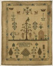 (lot of 3) British silk on wool canvas sampler group consisting of one executed by Jane Heermance aged 10 years, a strawberry vine f...