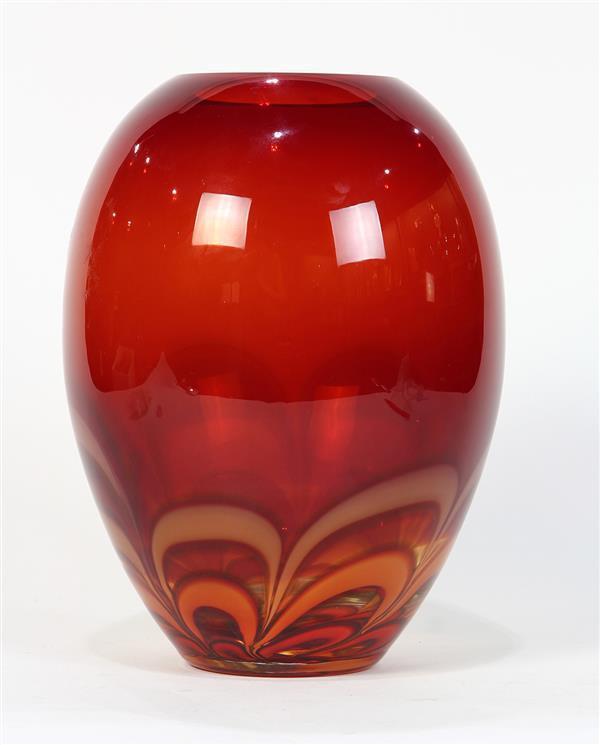 Evolution By Waterford Art Glass Vase Having A Bulbous Crim