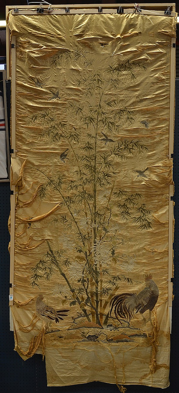 Asian Silk Hanging Panel, Roosters