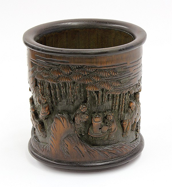 Chinese Wood and Bamboo Brush Pot