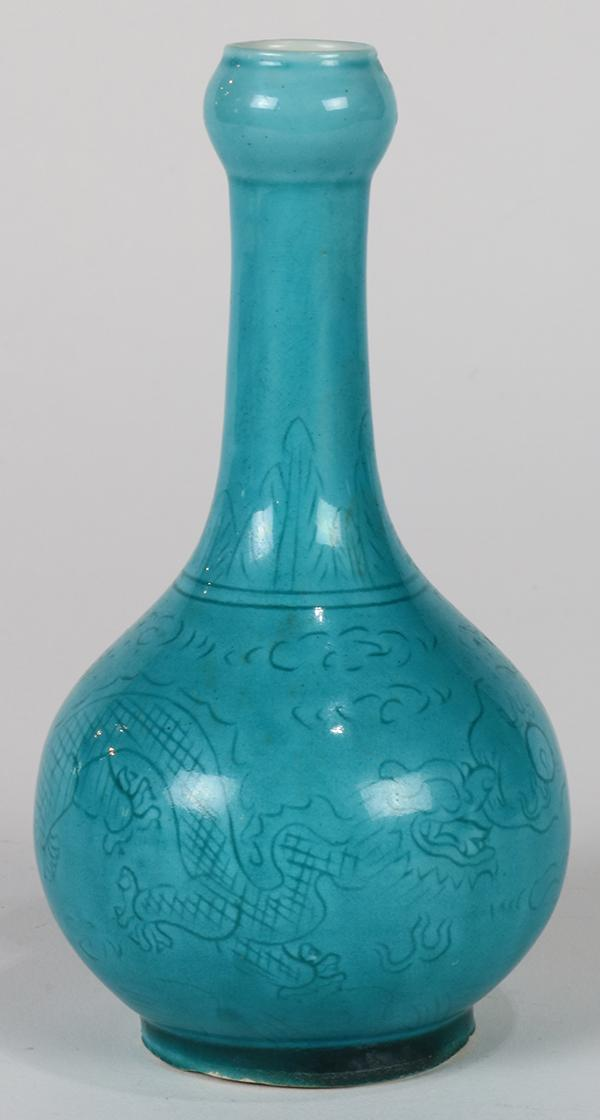 Chinese Small Turquoise Vase Dragons
