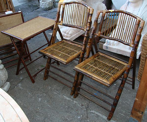 Lot of 6 rattan and wicker outdoor furniture suite consis for Real wicker outdoor furniture