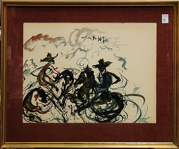Guy Buffet, Men on Horseback, watercolor