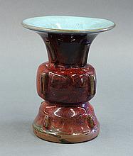 Chinese Flambe Glazed Gu Form Vase
