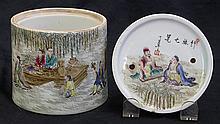 Chinese Enameled Porcelain Cricket Jar