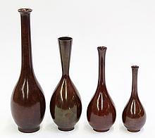 Japanese Sentoku Copper Vases, Signed
