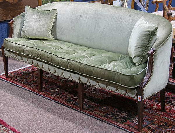 Regency settee having green velvet tufted upholstery with b for Button tufted velvet chaise settee green