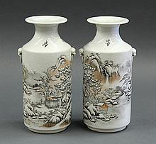 Two Chinese Vases, Snow Scene