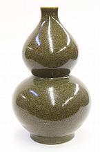 Chinese Teadust Glazed Double-gourd Vase