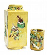 Chinese Famille Verte Vase/Brush Pot