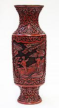 Chinese Cinnabar Style Vase, Students