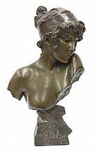 Art Nouveau bust of Sappho after Emmanuel Villanis (French 1858-1914)
