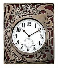 Art Nouveau silver travel clock by Gorham
