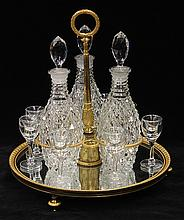 Continental gilt bronze and crystal tantalus