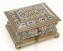 Continental Renaissance style champleve decorated jewel casket